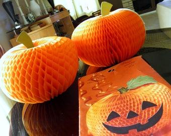 "Pair of 1970s Hallmark 3-D Paper Pumpkins--In Original Packaging--8-1/2"" High x 11"" Diameter--In Great Condition"