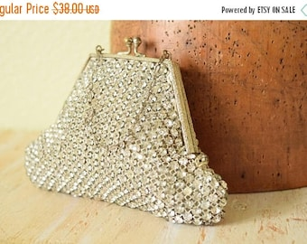 25% OFF SALE Vintage 1930's  Rhinestone Evening Clutch | D.S Jacqueline Handbag