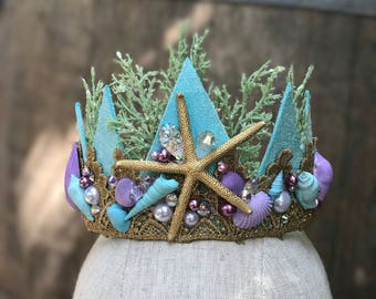 Mermaid Crown - Mermaid Party - Birthday Party - Bachelorette Crown - Bachelorette Party - Flower Girl -   READY TO SHIP