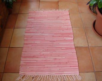 vintage 1950's Greek rag rug, light pink & dark pink with fringe 44'' x 26'' shabby chic floor rug