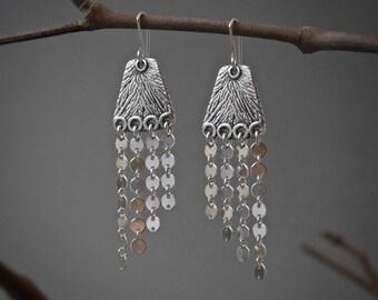 Sterling Silver Solasta-I Dangle Earrings, oxidized jewelry, gift, elegant silver earrings