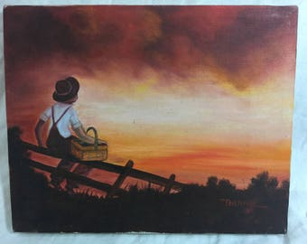 Another Fantastic Painting: Child watching the apocalypse rolling in