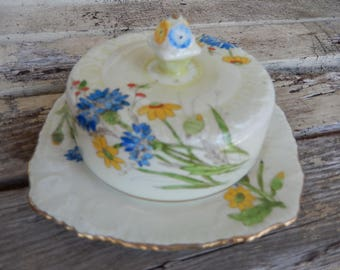 Vintage Butter Dish - Antique Covered Butter Dish - Royal Stafford Butter or Cheese Dish - English Butter Dish - Cheese Dish with Lid
