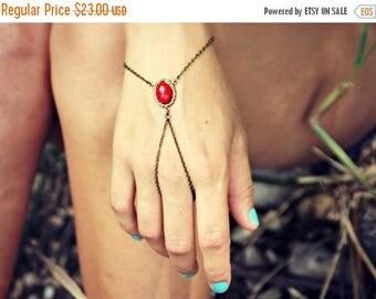 VACATION SALE coral red slave bracelet, bracelet ring, ring bracelet, boho bracelet, hipster bracelet, slave ring