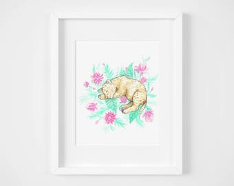 sleeping baby lion jungle watercolor illustration art print | gifts for babies, girls, nursery