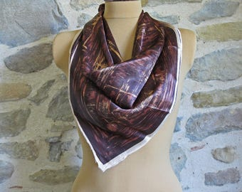 1950s brown scarf, French foulard with geometric pattern