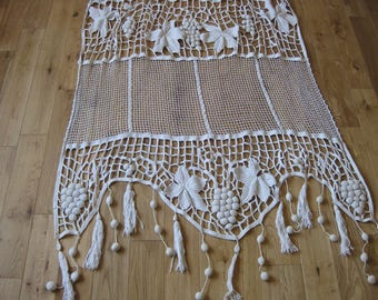 Huge French crochet curtain panel with bunches of grapes and bobble drop and tassel trims