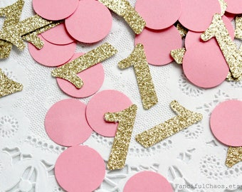 50 Gold Glitter Number One Pink Circle Confetti Die cuts cardstock 1.5 inch - 1st birthday, number 1, embellishment, table decoration