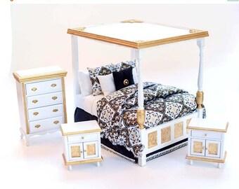 SPECIAL SALE GOLDEN Opulence Custom Dressed Canopy Bed Bedroom Set Dollhouse Miniature Master Bedroom 1:12 Luxury Elegant Hand Painted