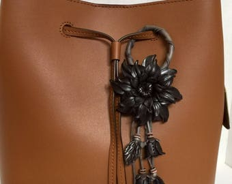 Dahlia flower inspired leather purse charm & keychain in black