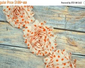 ON SALE 1/2 or 1 Yard Increment - Ivory/Orange Dots - Shabby Chiffon Flower Rose Trim - Headband Flowers - DIY Headband Supplies Craft Whole
