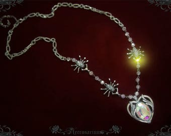 Spider's Cemetery - Crystal Heart Necklace