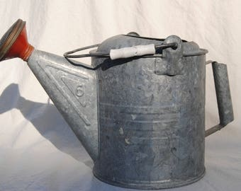 Galvanized metal watering can No. 6