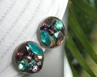 10% OFF Vintage 1980's Modern Purple & Turquoise Rhinestone Silvertone Earrings