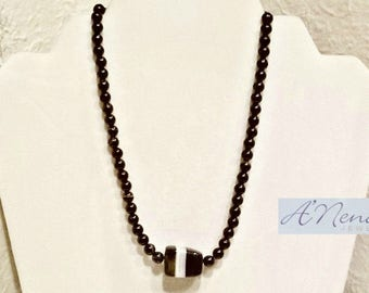 "Men's Necklace:  Onyx  ""Successful & Hopeful"" By ANena Jewelry"