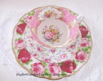 "VINTAGE 3 PC. TEA set, mis-matched pink tea set by Royal Albert, set includes 8"" lunch plate, teacup and saucer, excellent condition"
