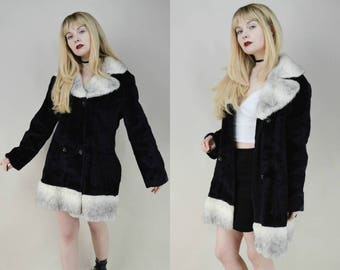 80s 90s Black White Faux Fur Double Breasted Coat M
