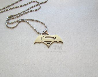 Two Heroes - Batman and Superman Inspired Necklace