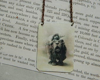 Wizard of Oz necklace Dorothy and Lion Broadway image mixed media jewelry