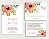 Wedding Invitation and RSVP Card (Kyle) - Digital File, Printed, Printable, DIY, PDF, Watercolor, Floral, Flowers, Pink, Peach, Summer, jpeg