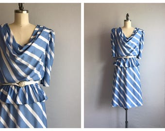 Vintage 80s Dress / 80s Diagonal Stripe Knit Dress with Peplum