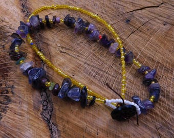 semi-precious un-cut stones, one-of-a-kind beaded necklace with antique button closure