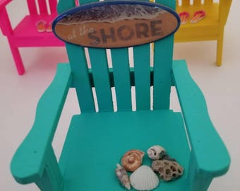SALE on various Ready Made Coastal Christmas Adirondack Chair Ornaments, Beach Ornaments, Nautical, Surf Ornament, Have Personalized