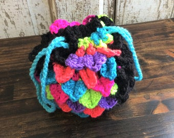 Neon and Black Dragon Egg Dice Bag, Dungeons and Dragons, DnD
