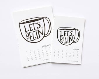 2018 Pep Talk Calendar for Creatives - Printable Calendar 4x6 and 5x7 Sun-Sat and Mon-Sun - DIY Monthly Calendar Stocking Stuffer