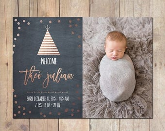 SUMMER SALE Tribal Teepee Rose Gold Birth Announcement Card Custom Photo Card 5x7 Professionally printed cards or Printable