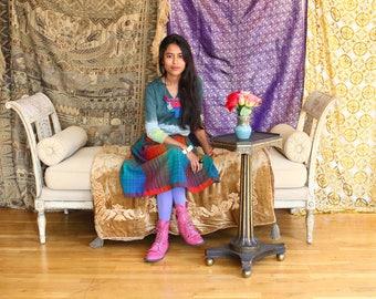 60s Vintage Breathtaking Iridescent SILK  Sari Shawl Scarf Nepal