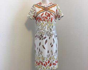 Vintage Dress, fall colours vintage polyester dress, Vintage Clothing