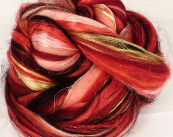 Strawberries -( 2 oz.)  Custom blended top - Superfine Merino / FLAX / Mulberry Silk/ Baby Alpaca ( 35/25/25/15 )