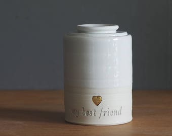 custom urn with ceramic lid, straight shaped urn with custom stamp and optional gold. modern urn for ashes. optional script font shown