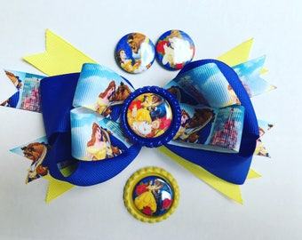 Belle bow.  Beauty and the Beast. Christmas. Valentines Day.  Back to school.  Birthday girl. Ready to ship.