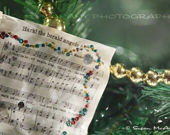 Christmas Clip Art, Christmas Digital Photo, Sheet Music Ornament, Holiday Clip Art, Holiday Digital Download, Digital Images, Holiday Music