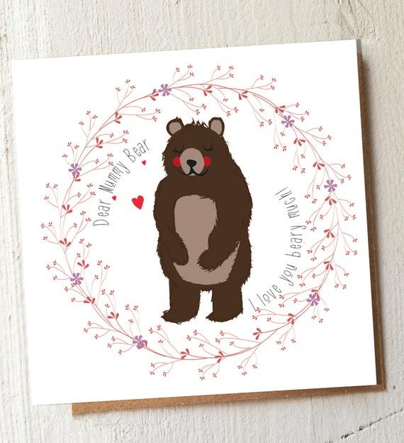 Mummy Bear Card – Funny Mum Card – mummy birthday card – bear card - sweet note for mum - thank you Mummy