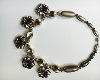 unsigned Silver Tone Choker Necklace, Floral Design