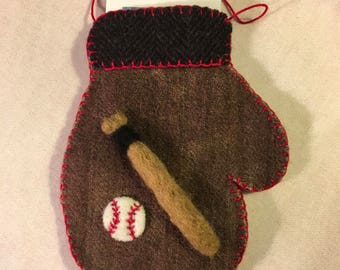 Needle Felted Mitten Ornament For Someone Who Is A Baseball Player That Holds A Gift Card