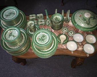 Rare 150+ Set Of Vintage-Green-Japan-China-Dragon Porcelain-Plate-Decorated-In-Hong-Kong