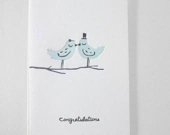 Letterpress Congratulations Wedding card - Love birds