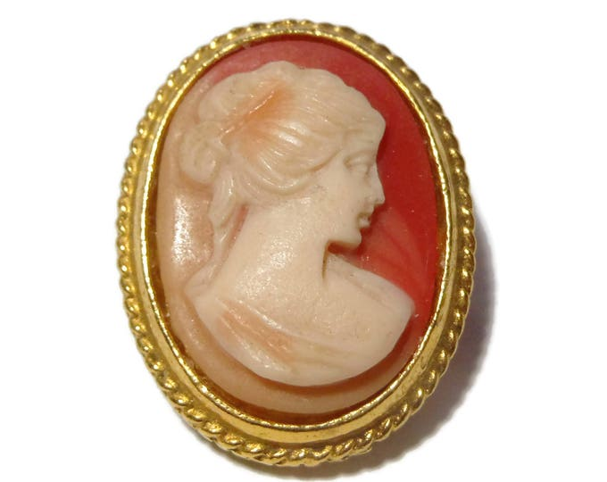 Shell carved cameo, hand carved amber background, cream colored woman, gold filled rope frame, vintage cameo
