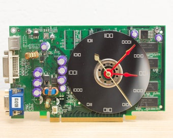 Desk clock - unique office clock, Recycled video card clock, green circuit board c5989