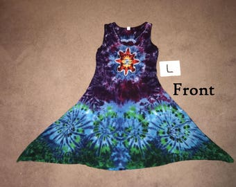 Tie Dyed Dress ~ Mandala/Heart with Aqua Spiral Waves ~ i-8149 ~ Large