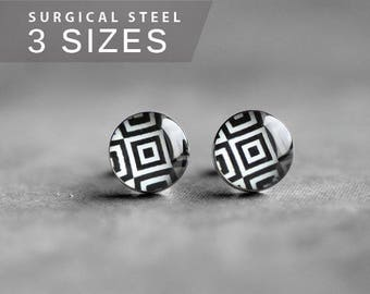 Geometric earring stud, black and white earring post, surgical steel earring stud, minimalist earrings, elegant earrings, gift for her