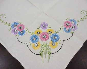 Vintage Ecru Linen Lunch Cloth With Fireworks Look Flowers