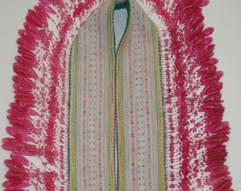 Vintage Hmong Textile - Long Beads Strap - Embroidered - Bohemian - Hill Tribe - Ship From U.S.A.