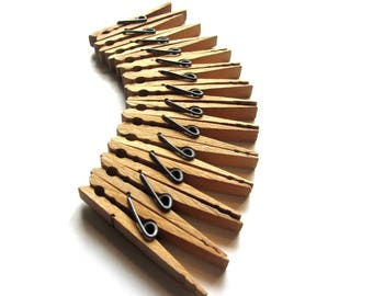 Vintage Wood Clothespins Spring Tension Clothes Pegs Baker's Dozen 13 Count Laundry Room Wash Day Supplies Picture Clips Craft Accessories