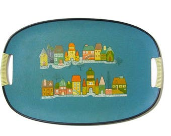 Town in Winter Serving Tray Blue Platter Tilso Japan Woven Plastic Handles Bar Buffet Dining Room
