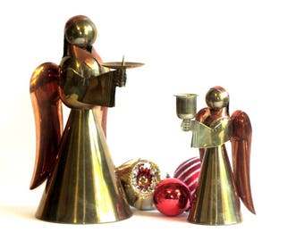 Copper and Brass Angel Candle Holder Pair Vintage Christmas Candlesticks Holiday Decor Candleholders